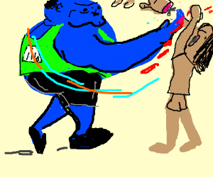 large blue guy cuts a guy with hand
