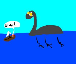 Man is afraid of Nessie.