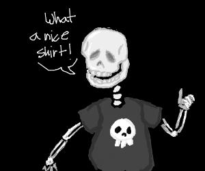 Skeleton approves skull T-shirt