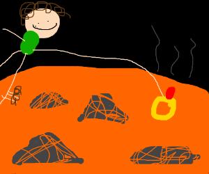 Frodo drops a ring in lava
