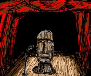 Easter Island head tries standup