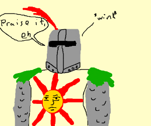 Blockhead knight with sun vest winks at you