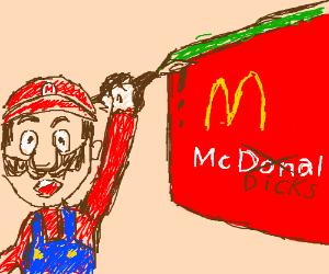 mario changes mcdonalds to mcdicks