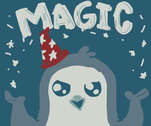 A penguin using ice magic