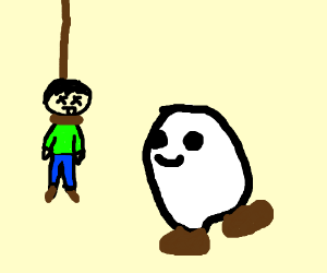 Ghost with shoes smiles at hanged man