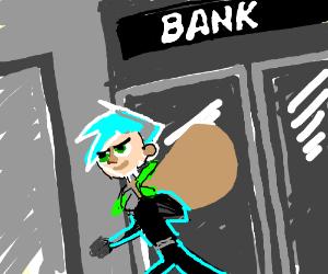 Danny Phantom robs a bank.