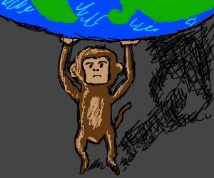 a giant monkey holding(?) a planet