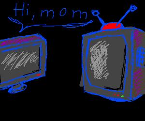 a TV saying hi to mom