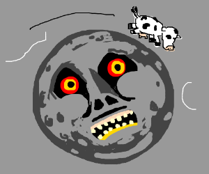 A cow jumping over the moon from majoras mask