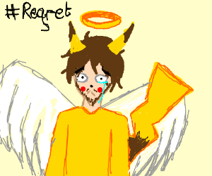 Sad Pikachu man with angel wings