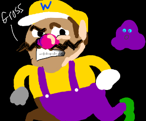 Wario thinks a purple thing is ugly