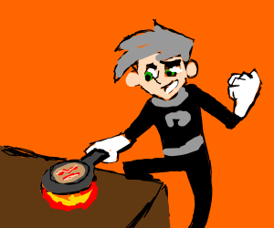 Danny Phantom makin' bacon pancakes.