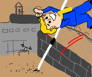 Vault Boy escaping prison via wall jump
