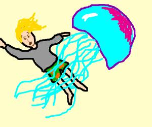 Jellyfish attacks blonde guy