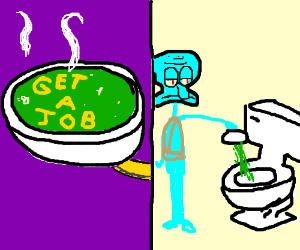 toilet backed up all over alphabet soup