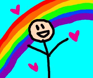 Person loves rainbow