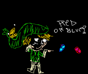 (sketchy art style) link... red or blue pill