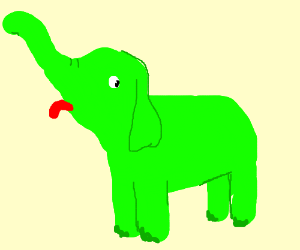 A green elephant sticking out his tongue