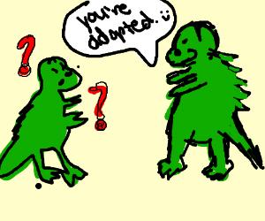 A dinosaur highly admiring his son