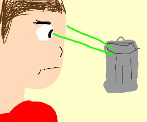 Eyeball shooting lazers at trash