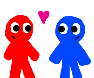 Blue boy and red boy are best friends.