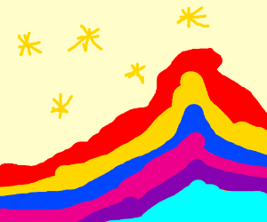 Rainbow mountain with gold coins as snow?