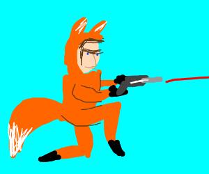 Guy in fox suit with a laser gun