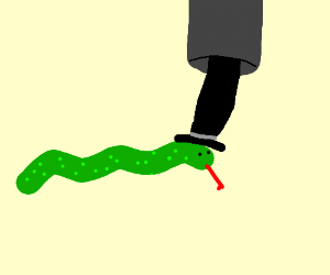 Snake with black hat coming out of black tube
