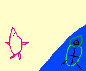 Angry Patrick Star and Alien in Shallow Water