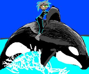 Danny Phantom riding Shamu.
