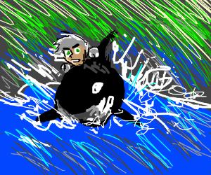 Danny Phantom rides an orca