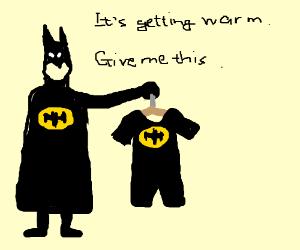 Batman chooses his wardrobe.