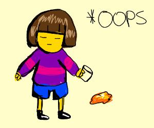 Frisk spills orange juice