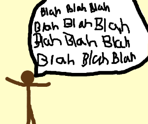 Brown-skinned stick man is talking so much!