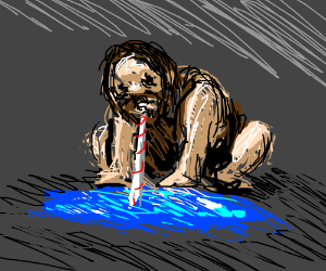 A caveman sips a puddle through a straw
