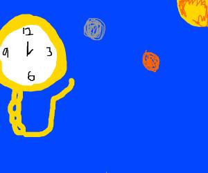 a wristwatch floating in Earth's orbit