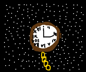 A giant pocket watch in space