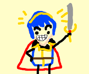 blue haired happy marth