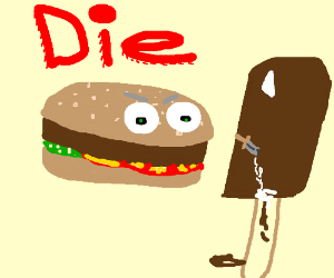 Hamburger stabs ice cream