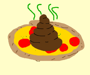 A pizza with poo