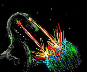 dino with laser vision destroys Earth