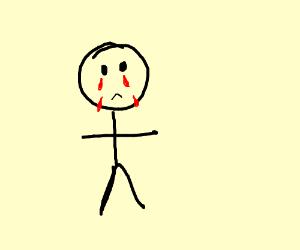 stickfigure crying blood