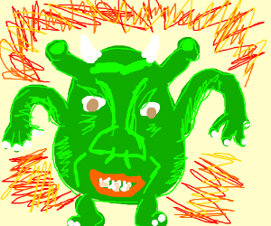 Mike Wazowski with Shrek's face.
