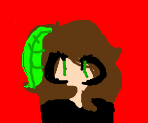 girl, long brown hair has a green thing in it