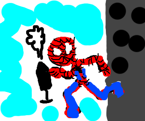 Mr Game and Watch combined with Spiderman