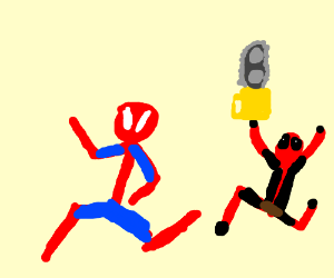 spiderman on the run gets a shower on the way