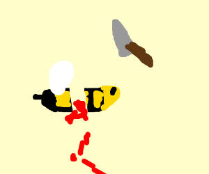 bee gets cut by knife