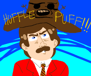 Ron Burgundy upset being sorted in huffelpuff