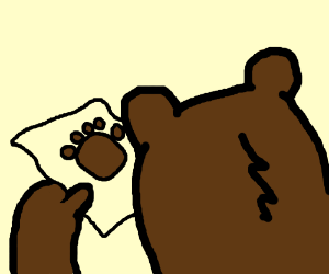 A bear looking at a letter from another bear