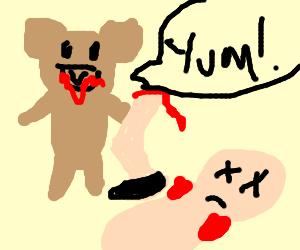 teddy bear eats human